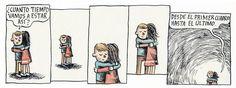 ¿Cuanto tiempo vamos a estar así? #Liniers #Macanudo #LiniersMacanudo Humor Grafico, Good Notes, Fun Games, True Stories, Hugs, Comic Art, Funny, Cute Pictures, First Love