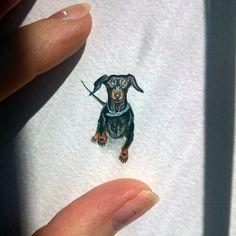 День 8 - #такса Гера  (28x11mm)  Мы заводим питомцев, и они становятся членами нашей семьи... И мы уже не представляем своей жизни без них)  // Day 8 - #dachshund Gera  (28x11mm) Our pets are our good friends and family members. And it's difficult to imagine our life without them  True love // #TinyPiecesOfLife #miniature #dog #basset #minimalism #painting #watercolor #art #arts_help #миниатюра #минимализм #собака #рисунок #акварель #собаки #aquarelle #pets