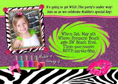ZEBRA Wild Animal Print Invitation Girls Birthday Party Invite Makeup Make-up Nail Polish Invitations zoo Personalized with photo. $14.98
