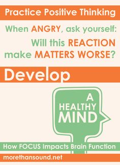 Think. Learn ways to manage anger with Develop a Healthy Mind: How Focus Impacts Brain Function. Mental Health Counseling, Mental Health Day, Emotional Development, Personal Development, Development Quotes, Mindfulness In The Workplace, Brain Science, Emotional Intelligence, Body Image