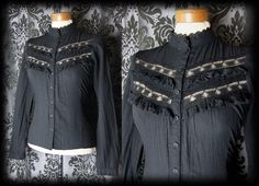 Gothic Black Lace Frill Bib VICTORIAN GOVERNESS High Neck Blouse 14 16 Vintage - £29.00