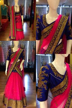 Half Saree with Elbow Length Blouse.the colours Half Saree Designs, Lehenga Designs, Blouse Designs, Blouse Patterns, Indian Attire, Indian Ethnic Wear, Hindus, India Fashion, Asian Fashion