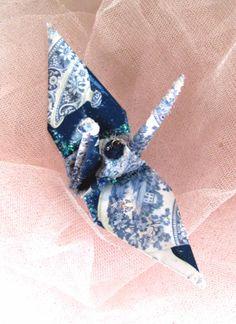 Blue Tea Peace Crane Wedding Cake Topper Party Favor Origami Ornament Decoration by localcolorist, $8.00