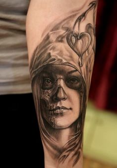 Realistic Day Of the Dead Tattoo Design Thumbnail
