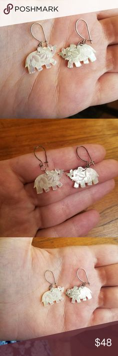 """Vintage Carved Mother of Pearl Elephant Earrings Beautiful mother of pearl elephant earrings with sterling silver hooks 1.25"""" long Vintage Jewelry Earrings"""