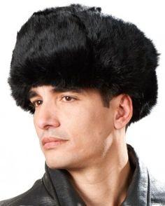 3a5bc74c7b5 Piel de conejo negro sombrero Ushanka Ruso Russian Hat