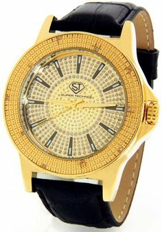 Super Techno Diamond Watch by Joe Rodeo Mens Genuine Diamond Watch Oversized Gold Case Leather Band w/ 2 Interchangeable Watch Bands #M-6108 Super Techno. $49.95. 2 Interchangeable Watch Bands Included. Elegant Gold Tone High Polished Case. Black Alligator Faux Leather Band. Stylish Oversized Face. Comes packaged in a Super Techno Watch Box