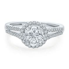 Helzberg Diamonds Symphonies® 7/8ct TW Diamond Cluster Engagement Ring in 14K Gold - Shop All Engagement & Wedding - Engagement & Wedding - Helzberg Diamonds