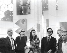 John de Menil, Andy Warhol, Simone Swan, Fred Hughes, Dominique de Menil and Howard Barnstone in Buckminster Fuller's geodesic dome for Expo 67 Andy Warhol, Expo 67, Buckminster Fuller, Chelsea Girls, Swinging London, Past Presidents, Stone Barns, Of Montreal, Geodesic Dome