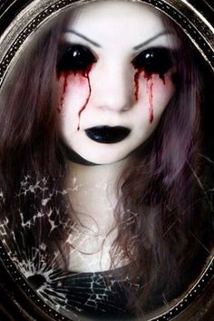 Pale face, black/bleeding eyes and maybe creepy contacts - super effective Halloween creepy make-up