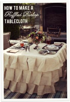 Burlap table cloth ~ love this