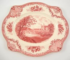 "Vintage Johnson Brothers England Old Britain Castles Pink/Red 12"" Oval Platter #JohnsonBrothers"
