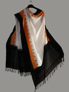 Black and yellow temple border cotton ikat Dupatta