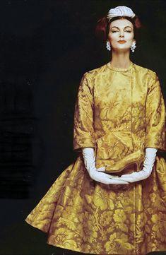 1959 Carmen in gold-threaded silk brocade dinner coat by Pauline Trigere