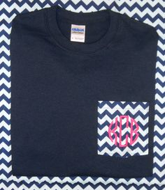 Monogrammed Personalized FABRIC Pocket T by southernmonograms