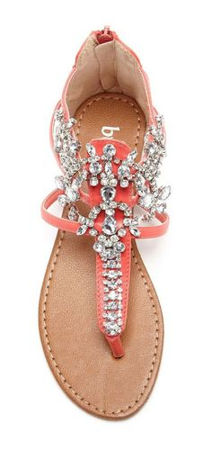 Coral Jeweled Sandals