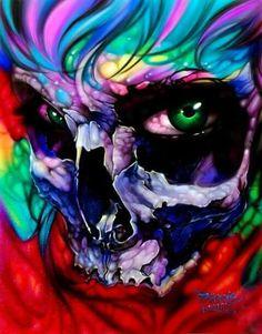 Skull Painting, Air Brush Painting, Skull Artwork, Totenkopf Tattoos, Colorful Skulls, Skull Wallpaper, Pattern Wallpaper, Wallpaper Backgrounds, Wallpapers