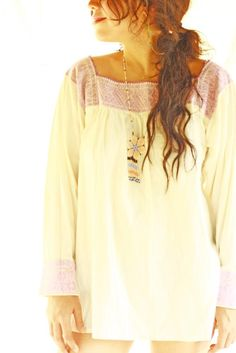 Lilac Pajaritos Mexican fine intricate embroidered blouse
