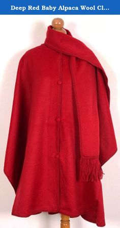 Deep Red Baby Alpaca Wool Cloak Cape, With Attached Scarf. Very Warm Still Light. Deep Red Baby Alpaca Wool Cloak Cape, With Attached Scarf. Very Warm Still Light.