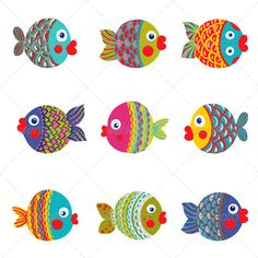 Fish Collection Colorful Graphic Cartoon
