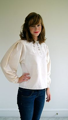 Vintage Blouse 80s Edwardian Style Top by NewOldFashionVintage, $26.00