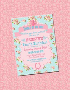 Shabby Chic Cowgirl Birthday or Shower Invitation by partyhardydesigns on Etsy