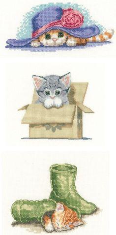 Set of 3 Cat 'Little Darlings' Cross Stitch
