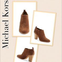 """Sleek Michael Kors 'Shaw' Leather Bootie A shapely bootie--fashioned from smooth, burnished black leather or rich caramel suede--dials up the downtown-chic appeal of your daily style, while logo-etched hardware flashes at the heel for a signature flourish.  Color: CARAMEL Approx. 3"""" heel Approx. 2 1/2"""" boot shaft Slip-on style Elastic side goring Padded insole Leather or suede upper/leather lining/rubber sole  **Runs small; order 1/2 size up** Michael Kors Shoes Heeled Boots"""