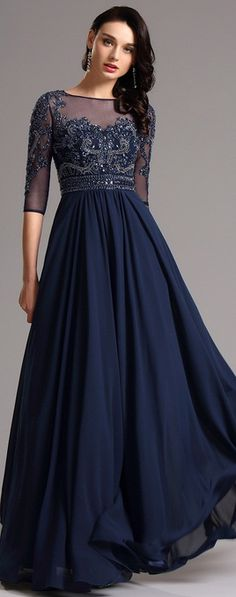 Half Sleeves Navy Blue Evening Dress Formal Gown