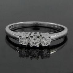 Platinum Plated 0.36ct 3 Stone Round Cut VVS Diamond Engagement Ring O891 #affinityjewelry #EngagementRing