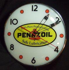 Pennzoil Antique Clock  (100% Pure Pennsylvania, Safe Lubrication, Vintage Pam Motor Oil Lighted Advertising Clocks)