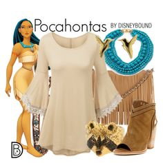 """""""Pocahontas"""" by leslieakay ❤ liked on Polyvore featuring Chan Luu, Disney, Posse, Kenneth Jay Lane, Dolce Vita, disney and disneybound"""