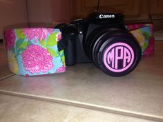 lilly pulitzer camera strap with monogram lens cap