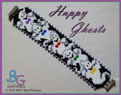 HAPPY GHOSTS Peyote Cuff Bracelet Pattern Put on your Halloween best and go a haunting with these lively little spirits . Stitched in odd-count peyote this pattern is a little more challenging, but well worth the effort. Bead Loom Patterns, Peyote Patterns, Bracelet Patterns, Beading Patterns, Bead Loom Bracelets, Peyote Beading, Halloween Beads, Halloween Jewelry, Seed Beads