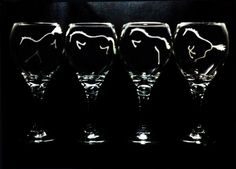 4 Wine Glasses Hand Etched with 4 Different by HorseSportsArt