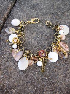 Stones, shells, glass beads, gold, ivory, neutral charm bracelet 'Beach'