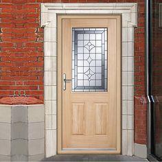 Winchester External Oak Part L Door with Semi Obscure Zinc Double Glazing. #partloakdoor #externnaldoor #exteranldoorwithzincglass
