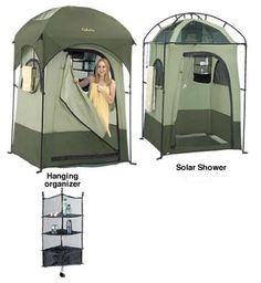 Cabela's Shower Shelter: Forget standing under a cold, glacier-fed waterfall. No need to 'wash' in that frog-infested pond. And forget those WetWipes. Get the grunge off FOR REAL in some degree of actual privacy. Yeah, baby.
