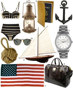 Talented Mr. Ripley - breezy, 1950s Americans-in-Europe vibe     1. Shakuhachi Bustier Bikini, $224; 2. Brass Lantern, $179; 3. Leather Passport Cover, $19; 4. Black Anchor, $8; 5. Men's Air-King Rolex, $2750; 6. Mulholland Safari Weekender, $895; 7. American Flag Beach Towel, $34/3; 8. Vintage Sailboat Model, $285; 9. Knot Door Stopper, $39; 10. Karen Walker Sunglasses, $220