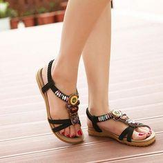 Non-slip rubber Sweet Beaded Clip Toe Flats Sandals - eFashionova Sexy Sandals, Fashion Sandals, Flat Sandals, Sneakers Fashion, Dress Fashion, Rd Congo, Open Toe Flats, Beaded Sandals, Peep Toe Platform