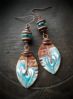 Artisan made enameled charms in a rustic, Bohemian-Gypsy, poetic flow, they are finished off with copper caps around Czech glass saucers that capture the color of the charms perfectly, finished off with copper ear wires handmade by YuccaBloom on Etsy Ceramic Jewelry, Enamel Jewelry, Polymer Clay Jewelry, Metal Jewelry, Boho Jewelry, Jewelry Crafts, Jewelry Art, Beaded Jewelry, Jewelry Design