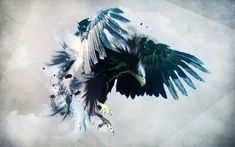 Angry-eagle-with-big-and-blue-wings-
