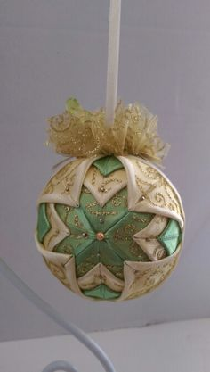 Vintage Christmas Quilted Ornament/Victorian Folded Fabric Christmas ornament/ Quilted no sew fabric Christmas ornament ball by AngelsHandmadeCrafts on Etsy Quilted Fabric Ornaments, Quilted Christmas Ornaments, Christmas Angels, Handmade Christmas, Vintage Christmas, Christmas Balls, Ornament Crafts, Christmas Crafts, Vintage Ornaments