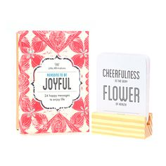 Don't miss out on Reasons To Be Joyful – a Moroccan inspired gift box containing 24 happy messages to enjoy life. Lovingly handcrafted to appeal to the gypsy living within us all. Refreshing and insightful, keep Reasons To Be Joyful on your desk or bedside table and discover a new quote each day.