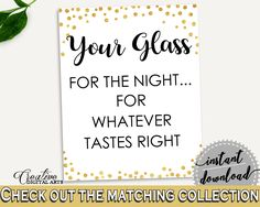 Your Glass For The Night Bridal Shower Your Glass For The Night Gold Confetti Bridal Shower Your Glass For The Night Bridal Shower CZXE5 #bridalshower #bride-to-be #bridetobe