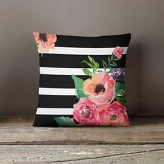 Black & White Stripes Floral Throw Pillow