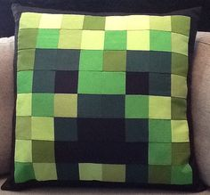 Minecraft inspired Creeper Pillow by LotsOfLittleSquares on Etsy