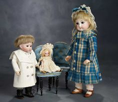 """The Voyage Continues"" - Saturday, January 7, 2017: 255 French All-Bisque Doll with Original Costume, Along with Two Blue Tufted Chairs"