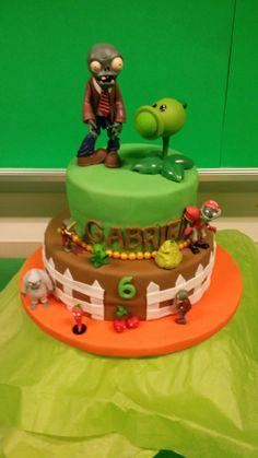 Plants vs. Zombies cake Zombie Birthday Parties, Zombie Party, Laser Tag Birthday, Candy Party, Birthday Cake, 7th Birthday, Birthday Ideas, Fancy Cakes, Holiday Festival