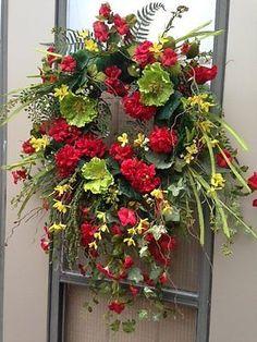 """""""SUMMER PLACE"""" - XXL Vintage Chic Summer Red Geranium Petunia Wreath Decoration"""